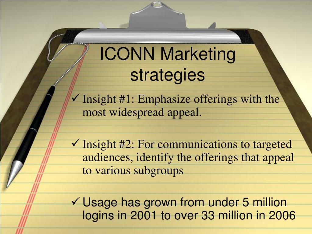 ICONN Marketing strategies