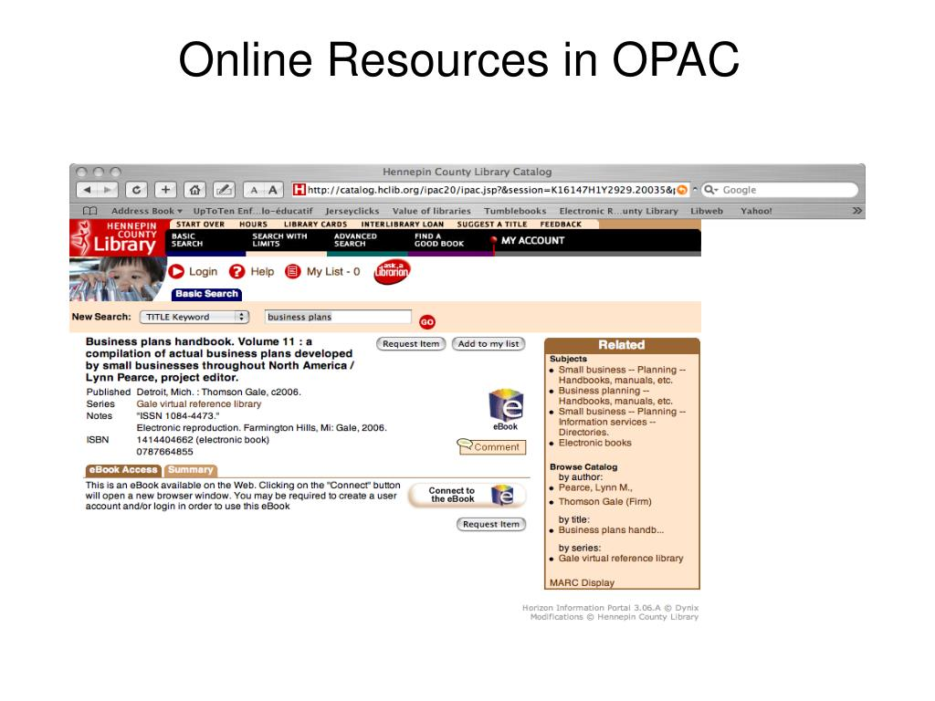 Online Resources in OPAC