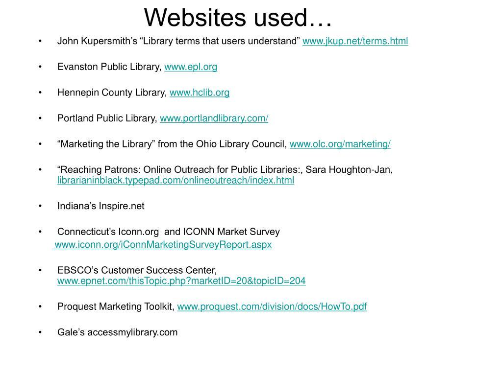 Websites used…