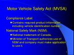 motor vehicle safety act mvsa11