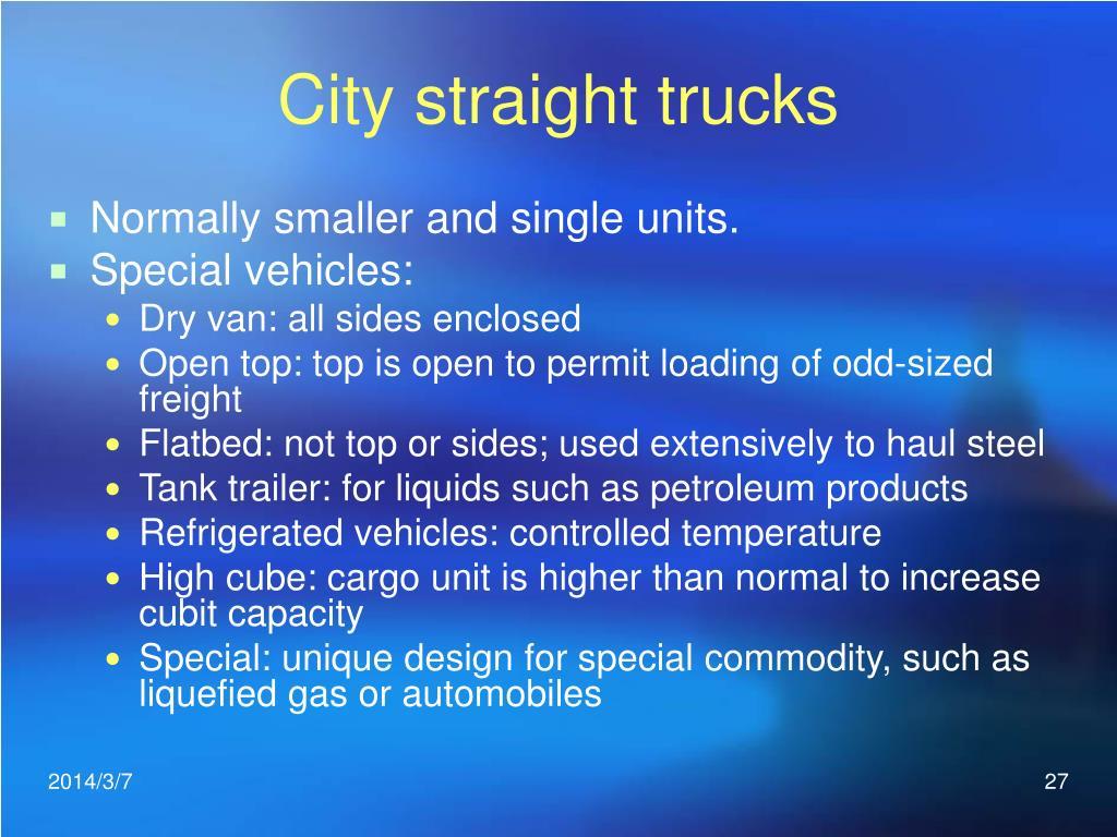 City straight trucks