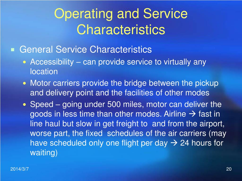 Operating and Service Characteristics