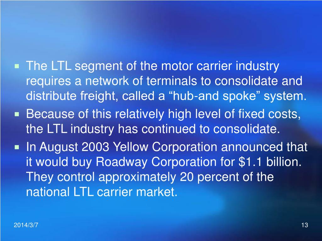 """The LTL segment of the motor carrier industry requires a network of terminals to consolidate and distribute freight, called a """"hub-and spoke"""" system."""