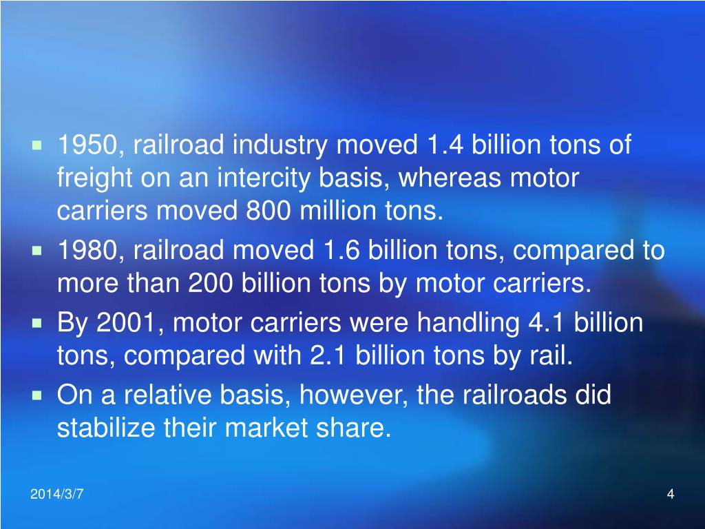 1950, railroad industry moved 1.4 billion tons of freight on an intercity basis, whereas motor carriers moved 800 million tons.