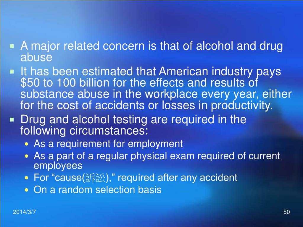 A major related concern is that of alcohol and drug abuse