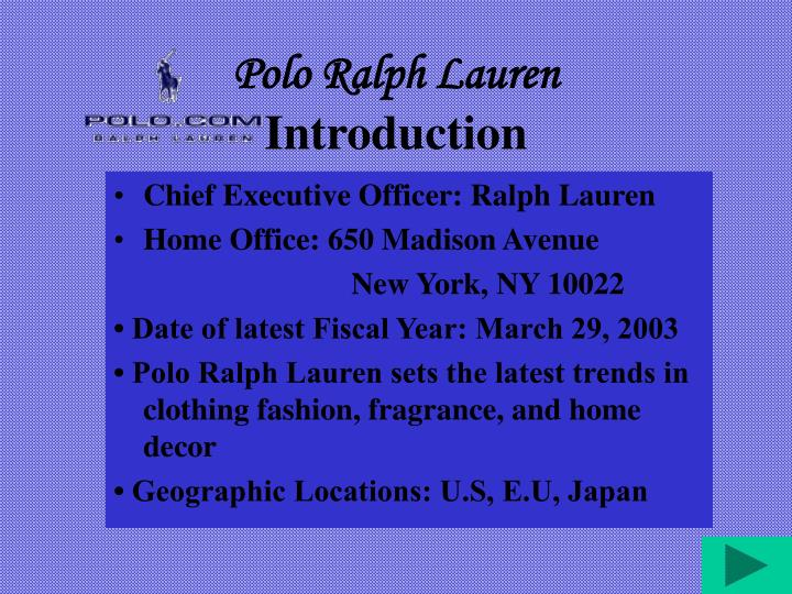 Polo ralph lauren introduction