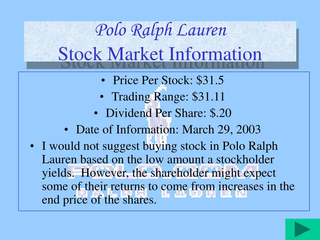 company and market analysis of polo ralph laurent Latest breaking news and headlines on ralph lauren corporation (rl) stock from seeking alpha read the news as it happens.