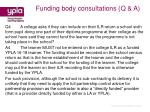 funding body consultations q a54