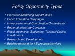 policy opportunity types