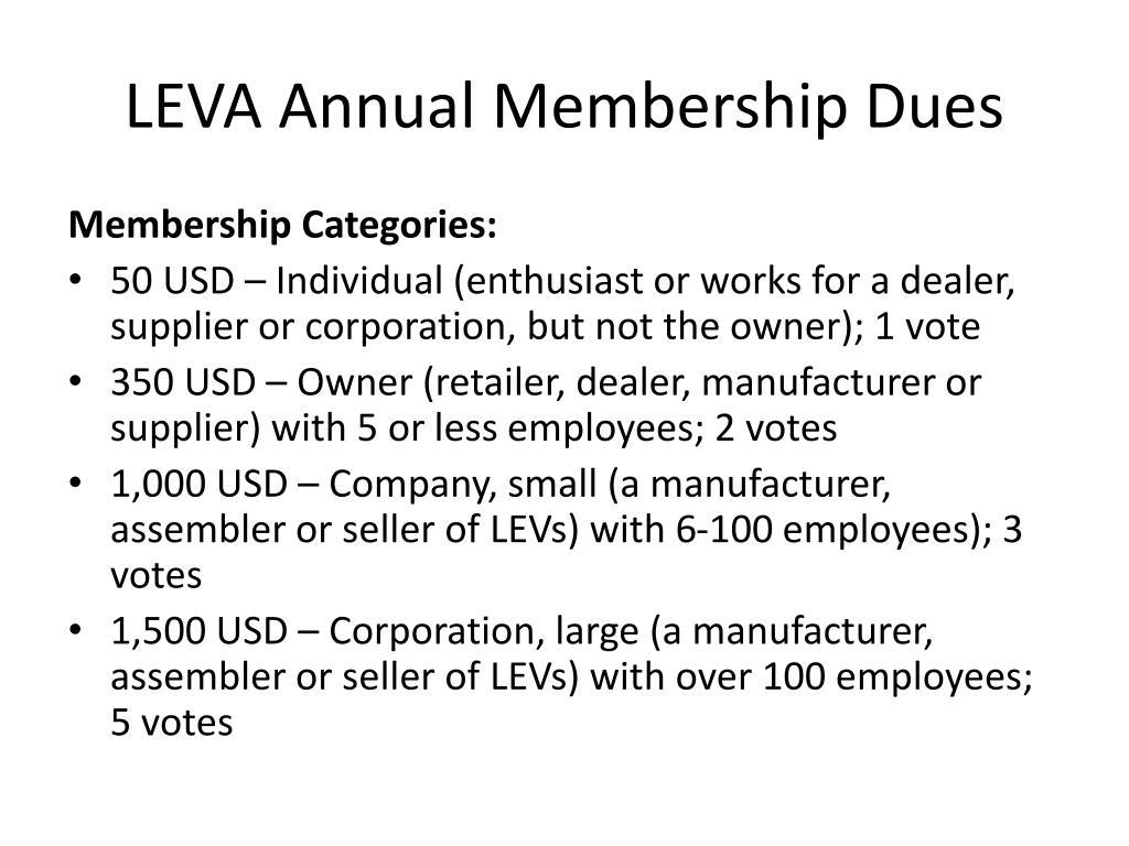 LEVA Annual Membership Dues