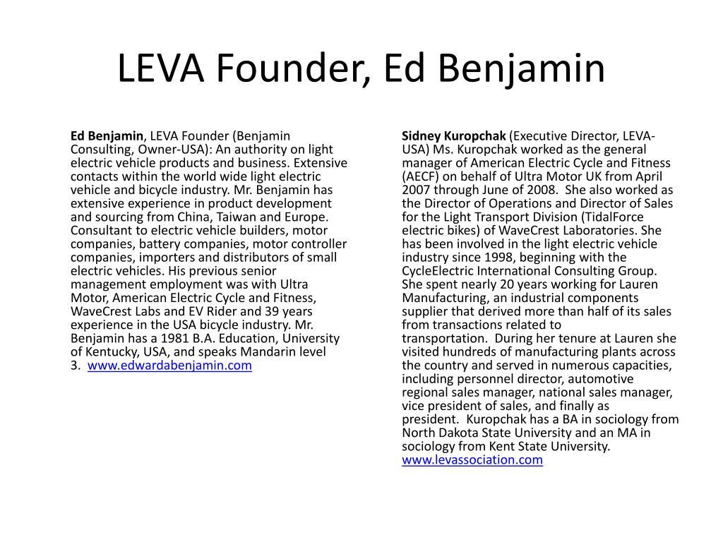 LEVA Founder, Ed Benjamin