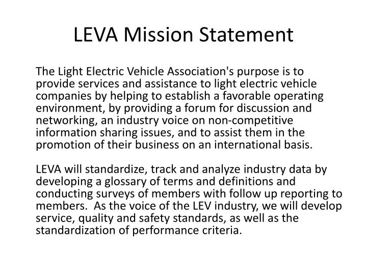 Leva mission statement