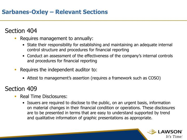 Sarbanes oxley relevant sections