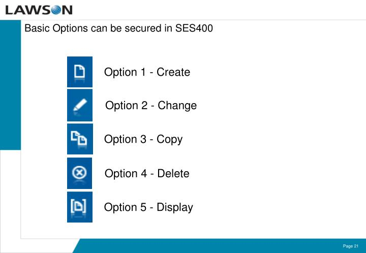 Basic Options can be secured in SES400