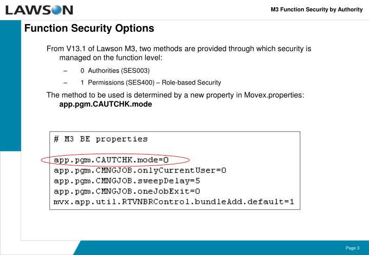 Function security options