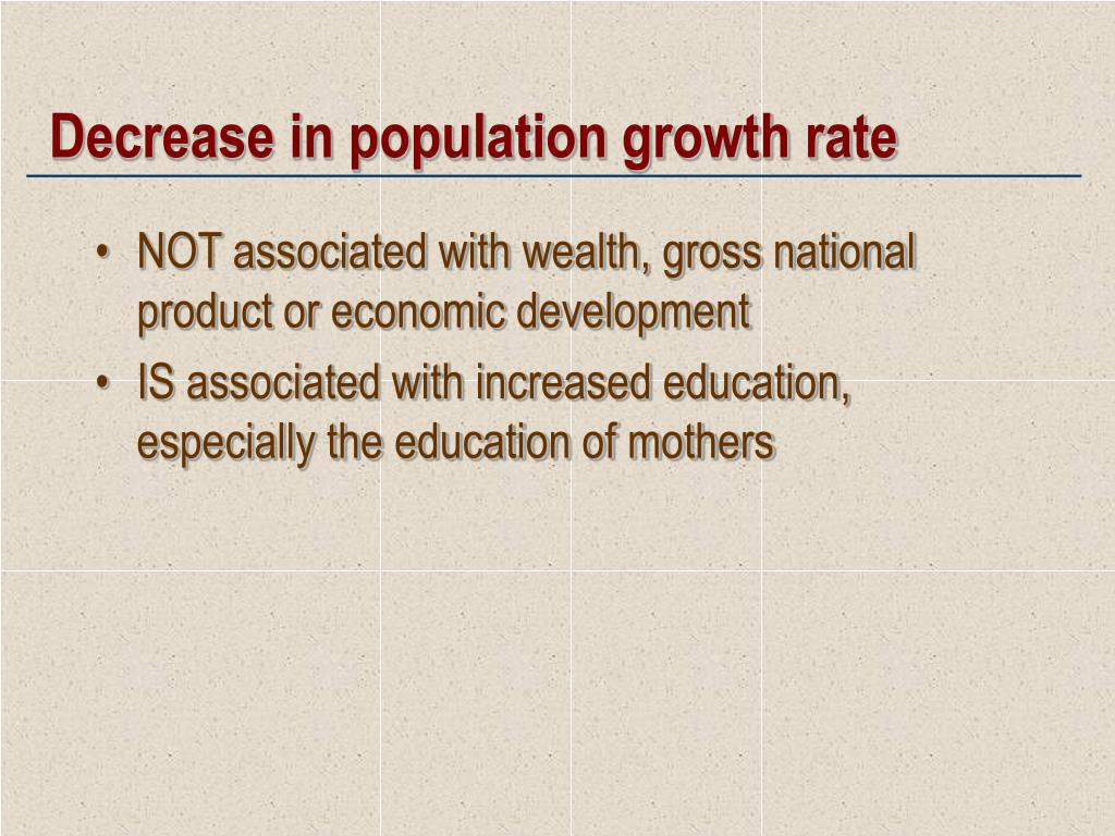Decrease in population growth rate