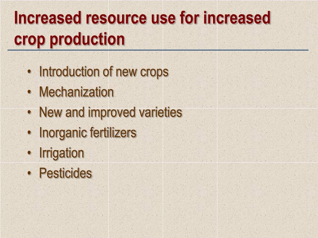 Increased resource use for increased crop production