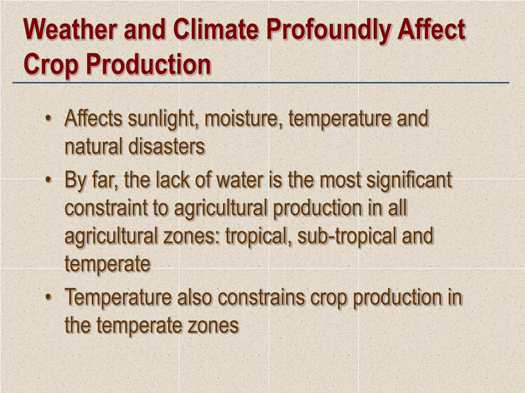Weather and Climate Profoundly Affect Crop Production
