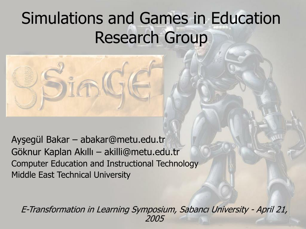 simulations and games in education research group l.