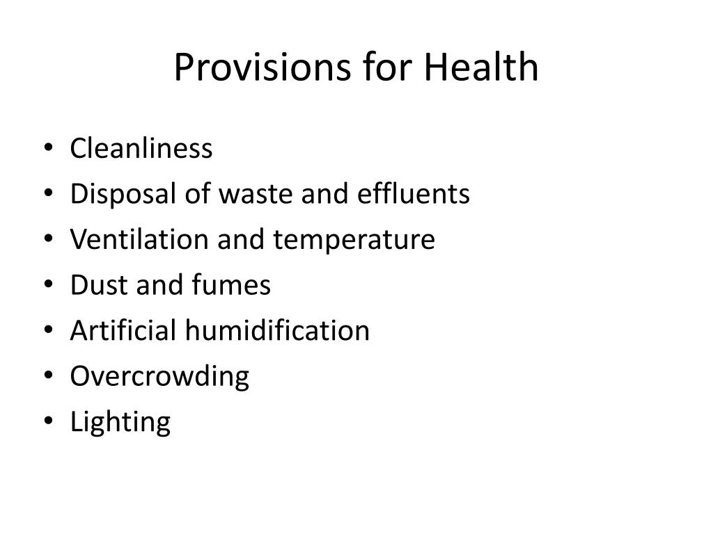 Provisions for Health