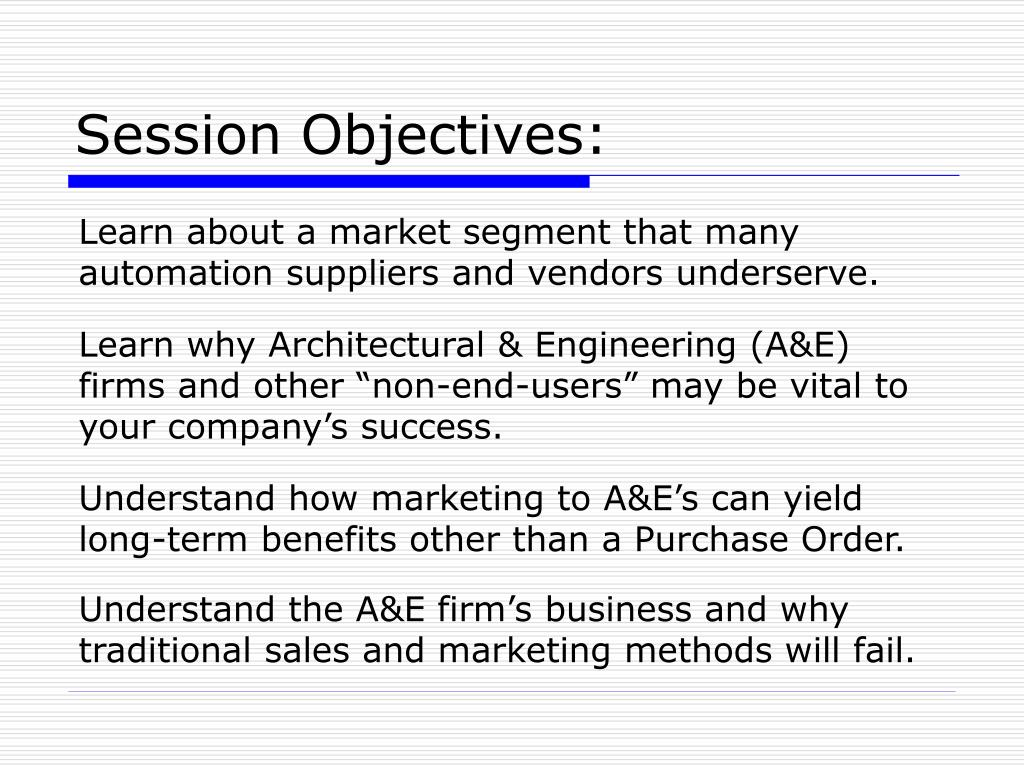 Session Objectives: