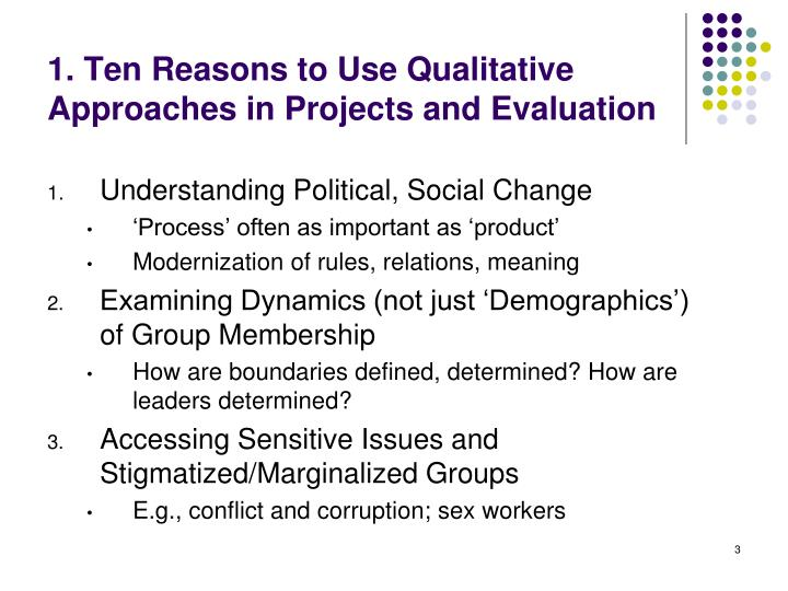 1 ten reasons to use qualitative approaches in projects and evaluation