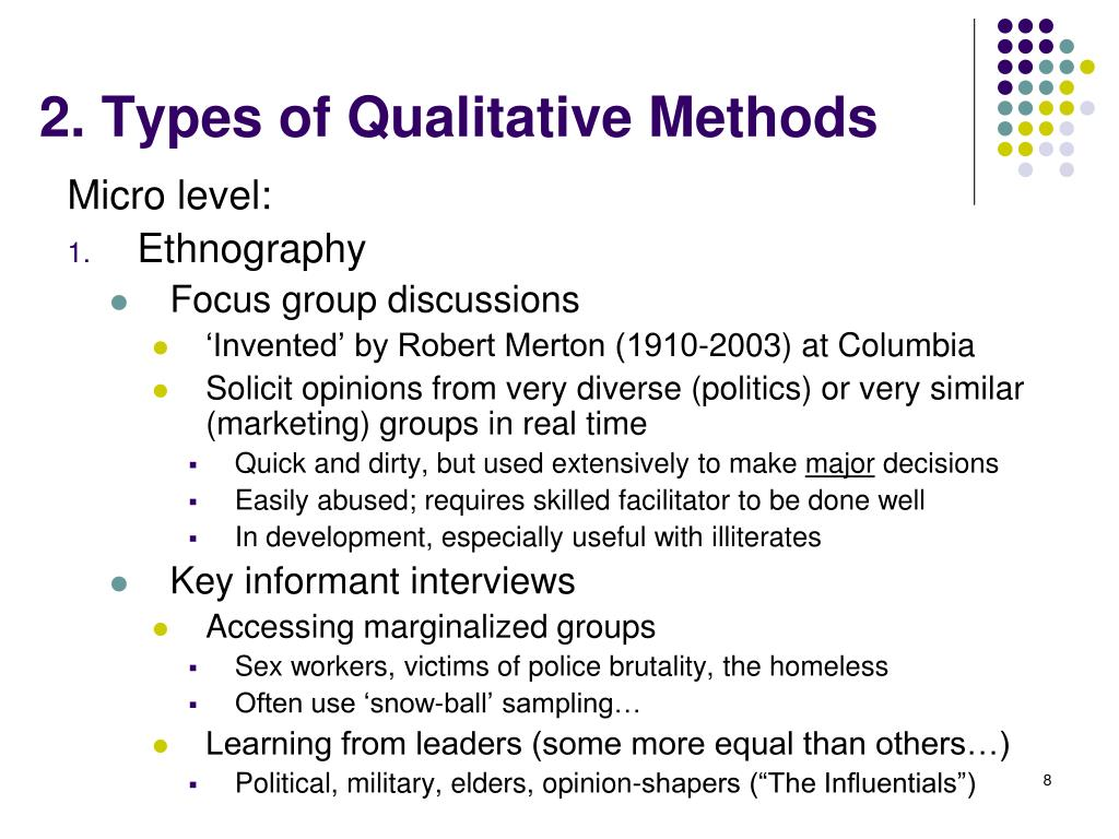 2. Types of Qualitative Methods