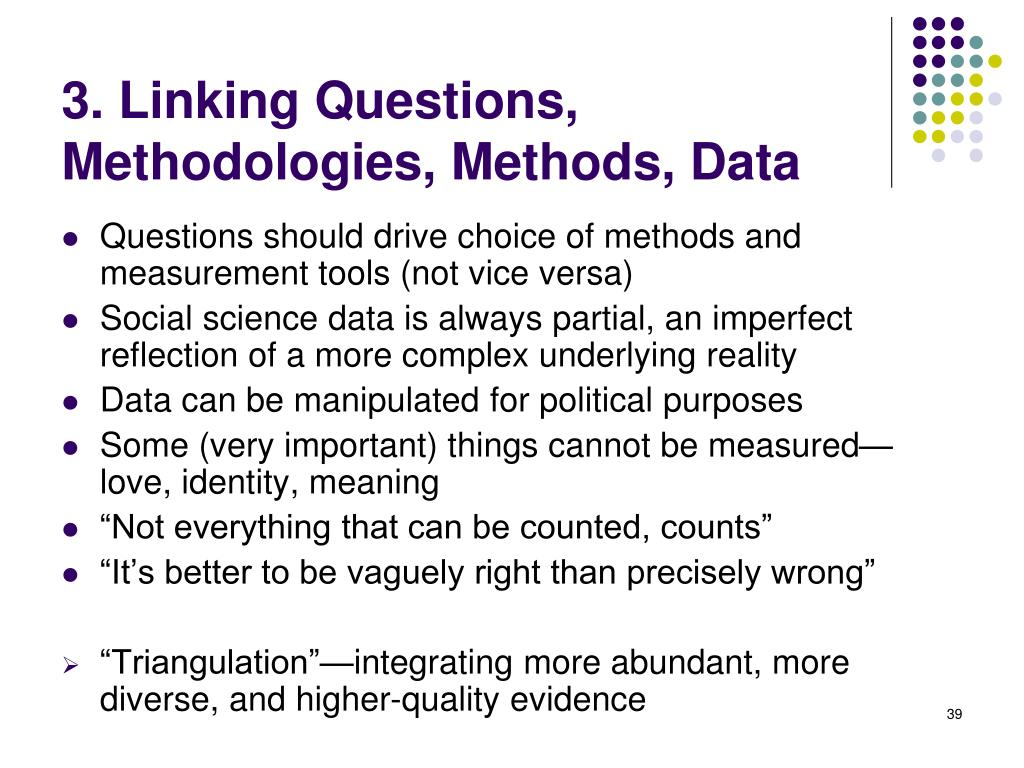 3. Linking Questions, Methodologies, Methods, Data