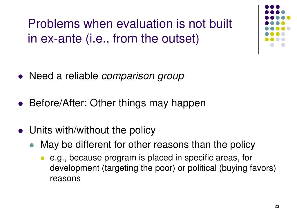 Problems when evaluation is not built in ex-ante (i.e., from the outset)