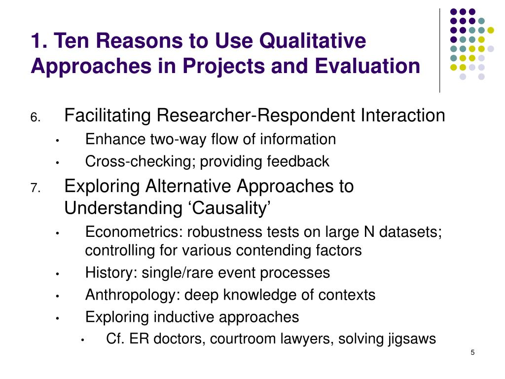 1. Ten Reasons to Use Qualitative Approaches in Projects and Evaluation
