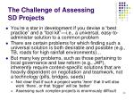 the challenge of assessing sd projects
