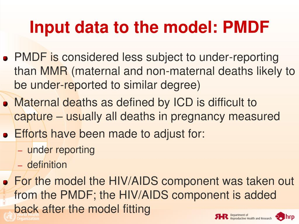 Input data to the model: PMDF