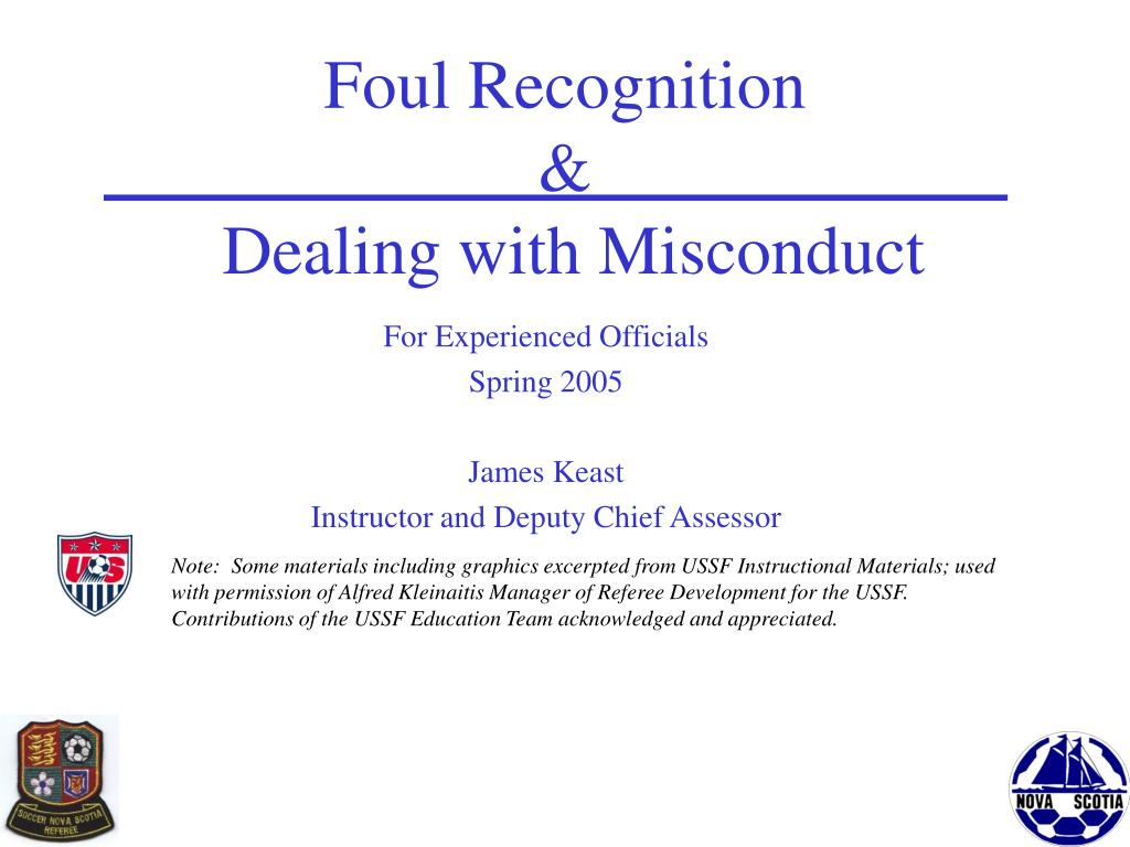 foul recognition dealing with misconduct l.