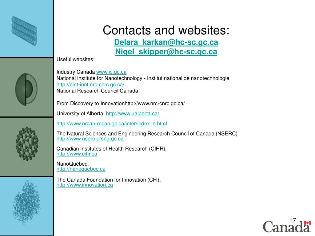 Contacts and websites: