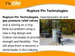 rupture pin technologies