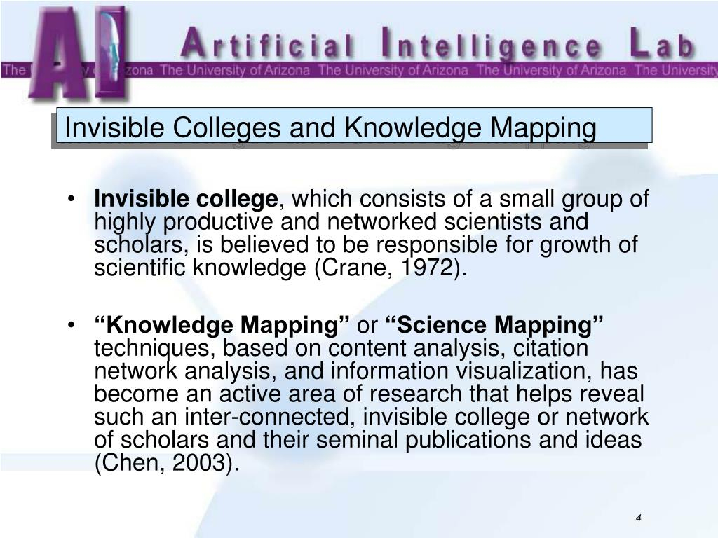 Invisible Colleges and Knowledge Mapping