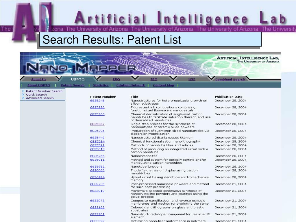 Search Results: Patent List
