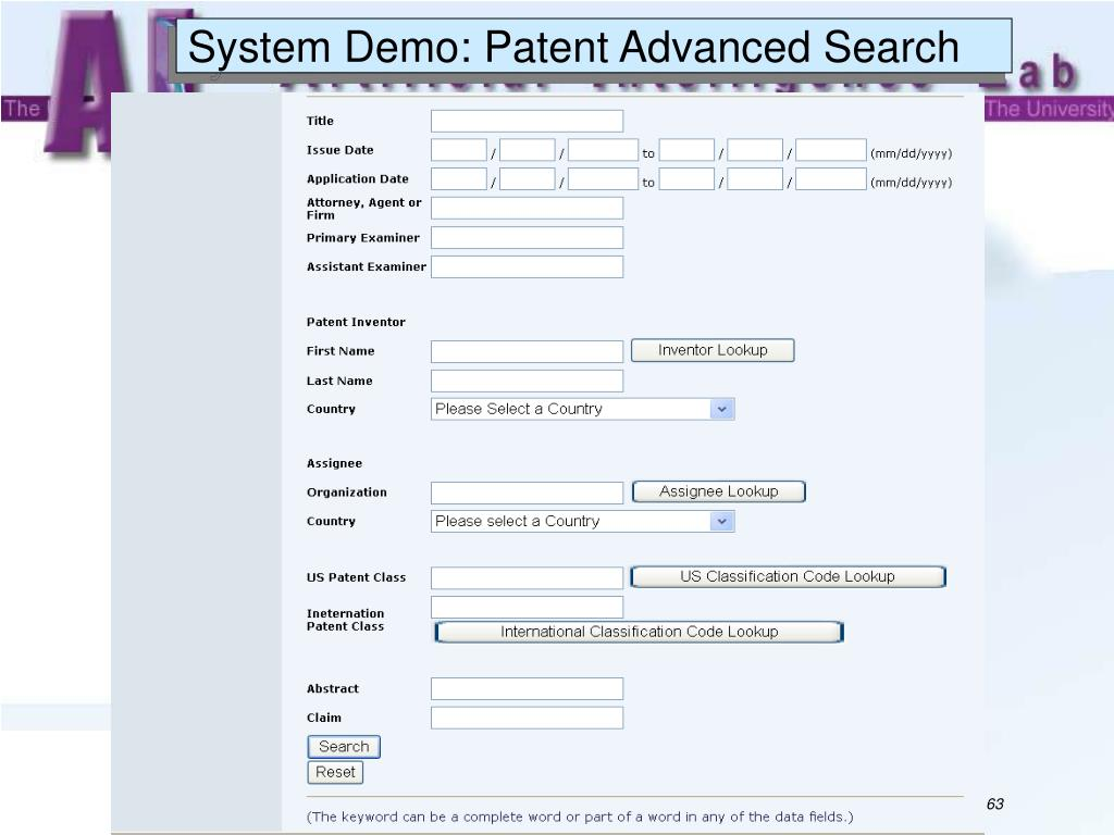 System Demo: Patent Advanced Search