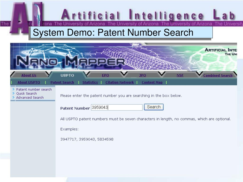 System Demo: Patent Number Search