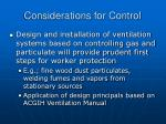 considerations for control41