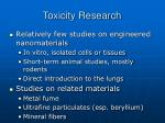 toxicity research