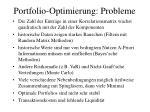 portfolio optimierung probleme