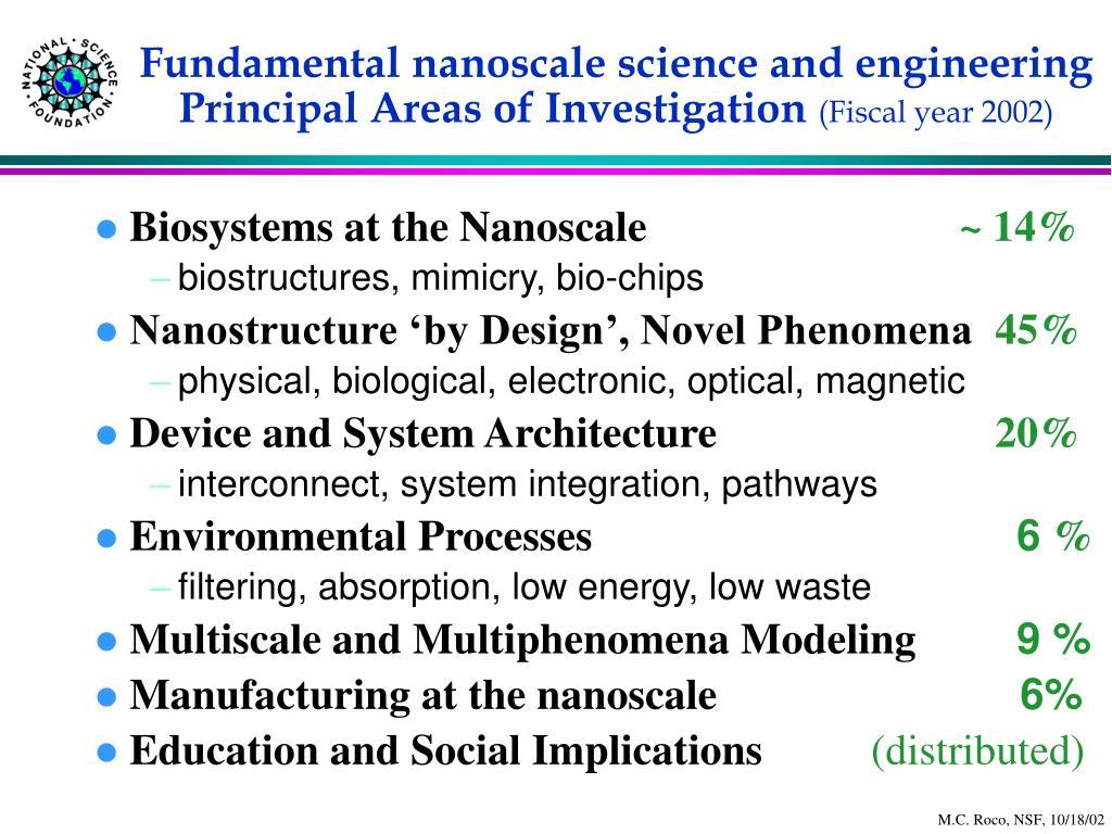 Fundamental nanoscale science and engineering