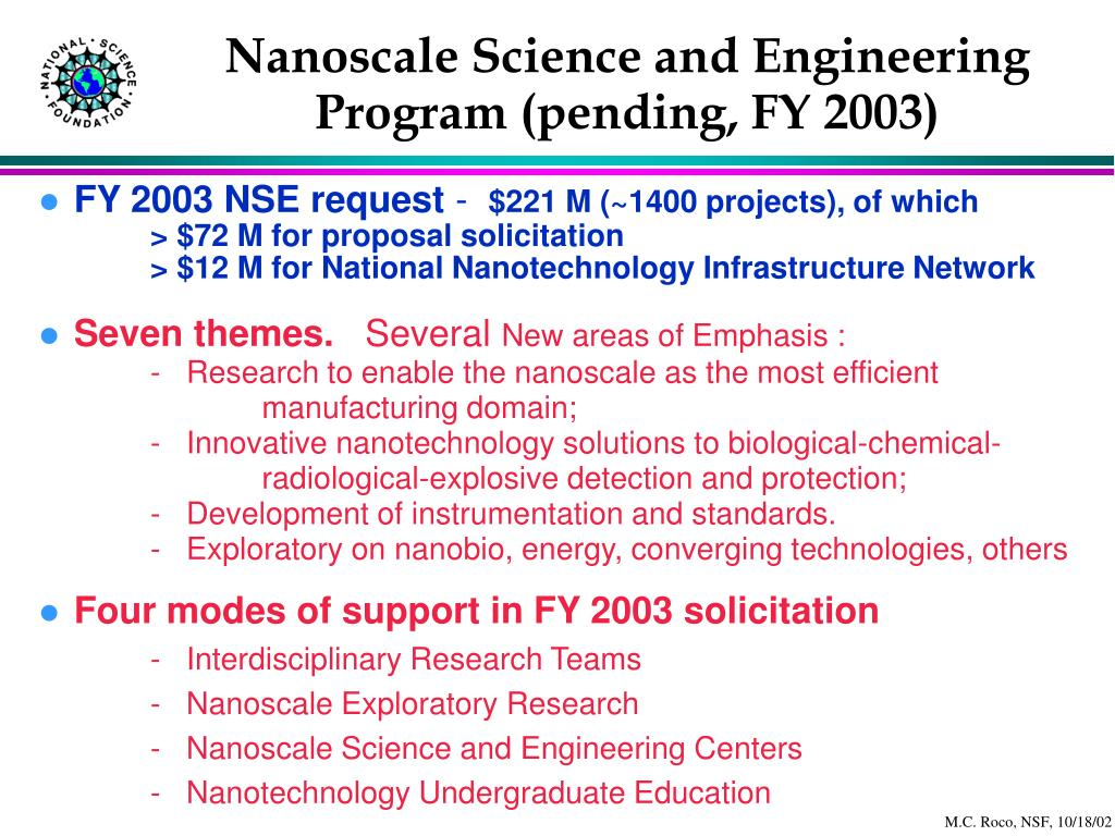 Nanoscale Science and Engineering Program (pending, FY 2003)
