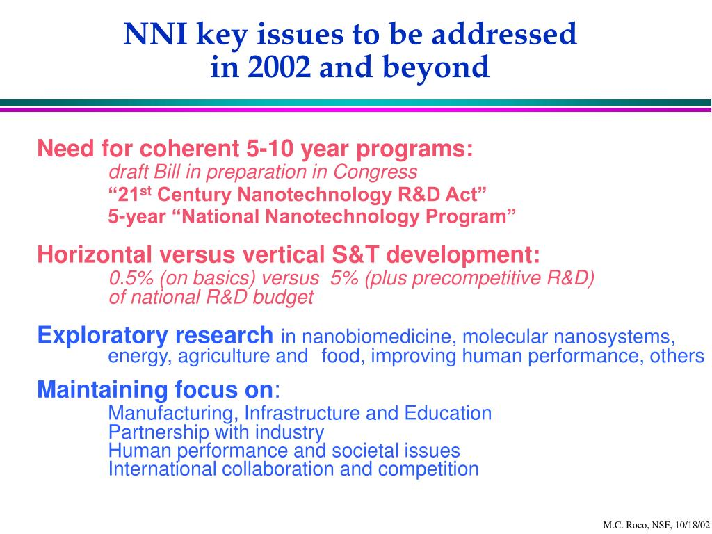 NNI key issues to be addressed
