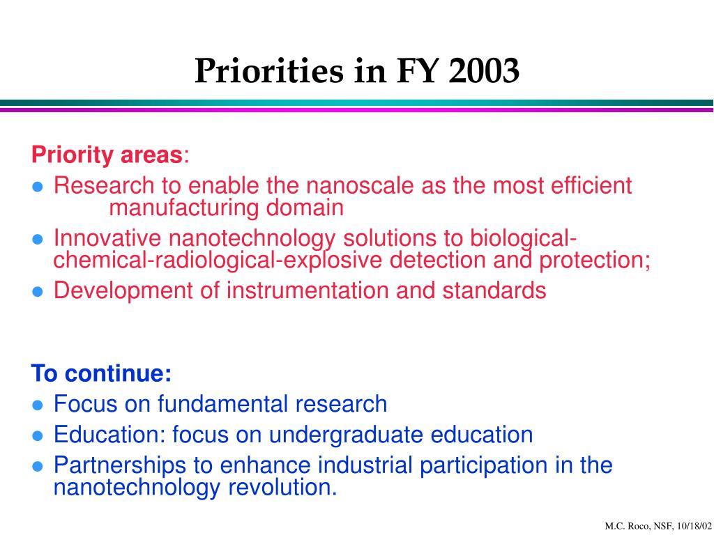 Priorities in FY 2003