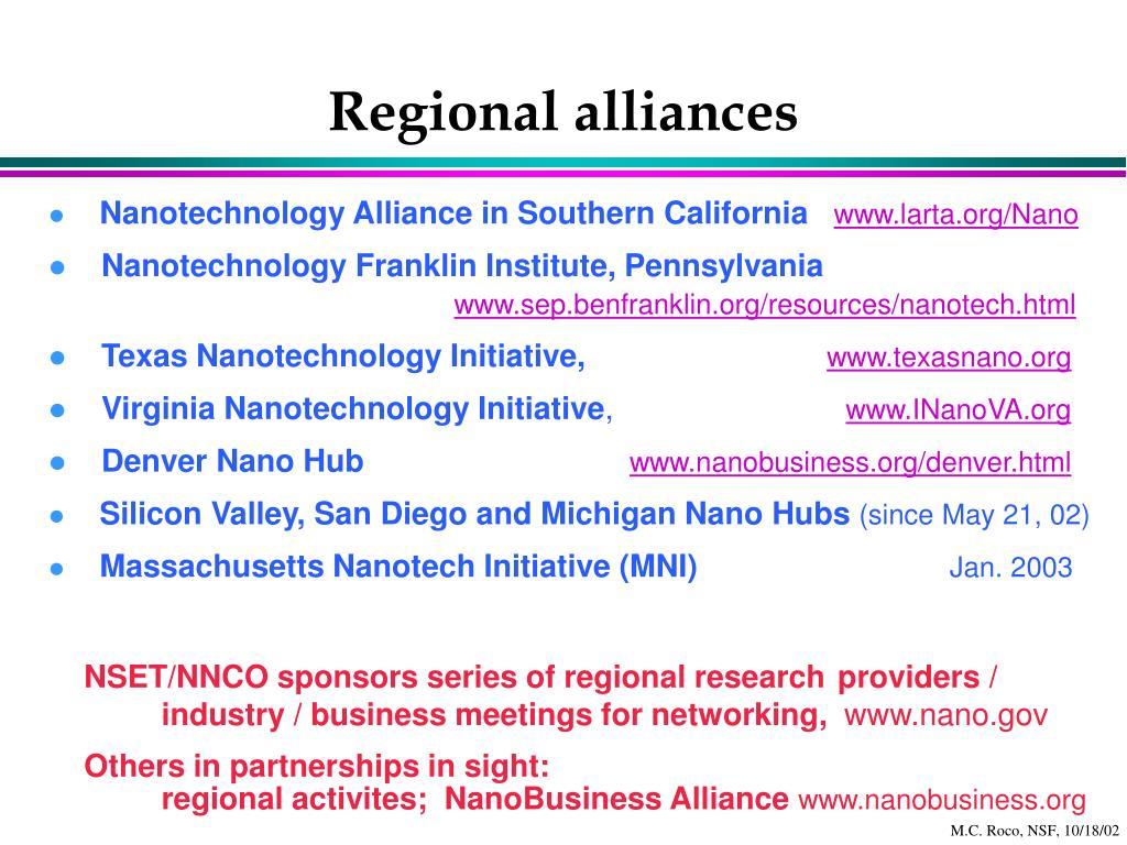 Regional alliances