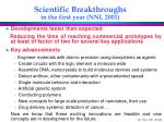 scientific breakthroughs in the first year nni 2001