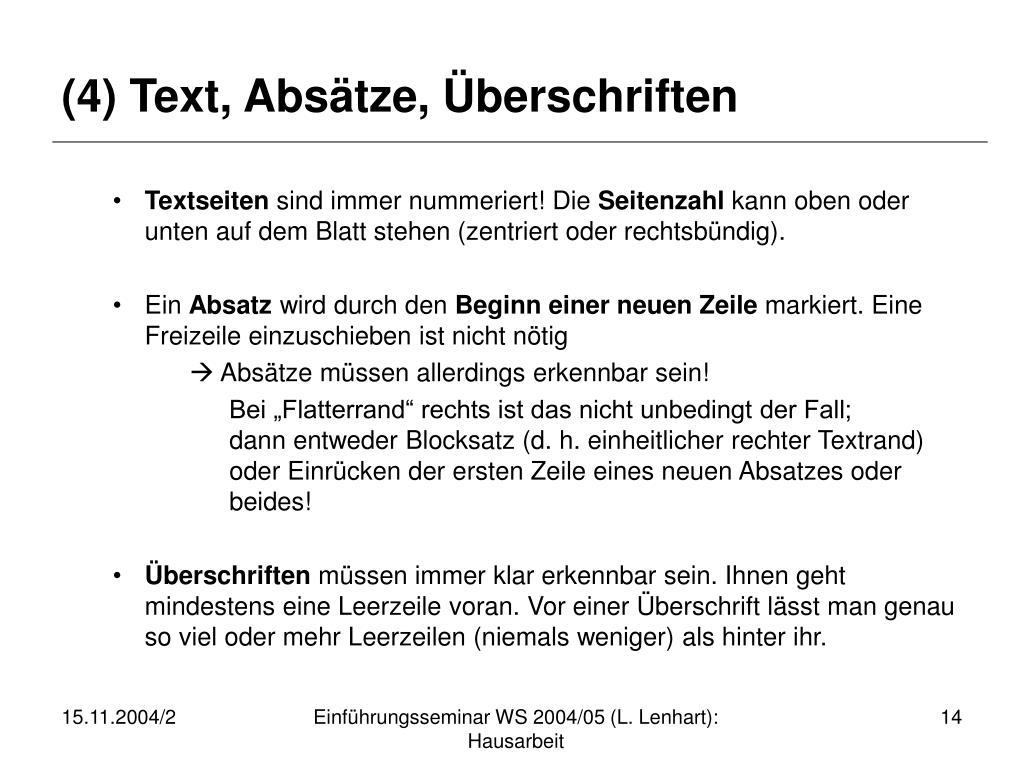 (4) Text, Absätze, Überschriften