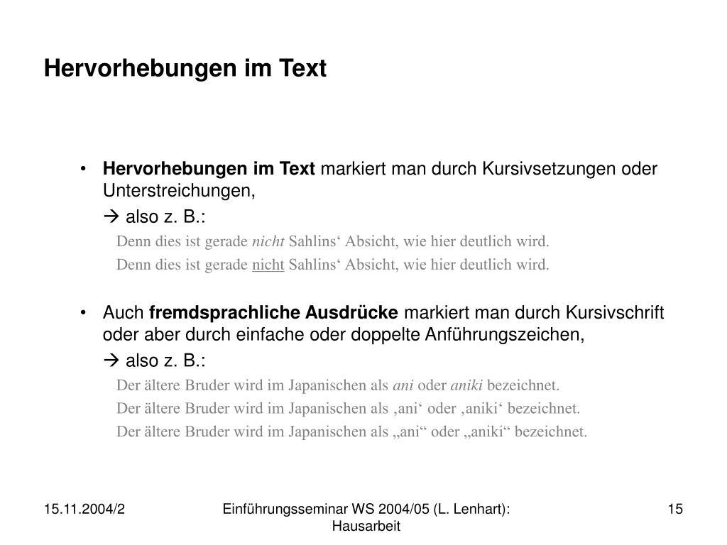 Hervorhebungen im Text
